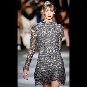 Christian Siriano grey crochet lace dress